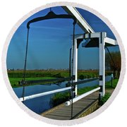 Drawbridge At Zaanse Schans Round Beach Towel by Jonah  Anderson
