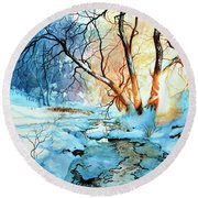 Round Beach Towel featuring the painting Drawn To The Sun by Hanne Lore Koehler