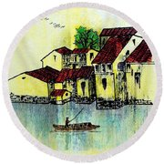 Dreadful Lemon Colored Sky Round Beach Towel by Roberto Prusso