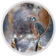 Dream Catcher - Hawk Spirit Round Beach Towel