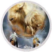 Dream Catcher - Spirit Of The White Buffalo Round Beach Towel