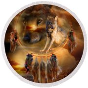 Dream Catcher - Wolfland Round Beach Towel by Carol Cavalaris