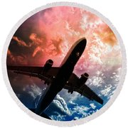 Round Beach Towel featuring the photograph Dream Flight by Aaron Berg