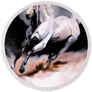 Dream Horse Series 20 - White Lighting Round Beach Towel by Cheryl Poland