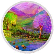 Round Beach Towel featuring the painting Dream Lake by Jane Small