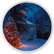 Christmas At The Richmond Round Church Round Beach Towel