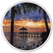Round Beach Towel featuring the photograph Dream Pier by Hanny Heim
