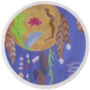Round Beach Towel featuring the painting Dream Spirit Shield by Ellen Levinson