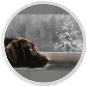 Dreamin' Of A White Christmas Round Beach Towel