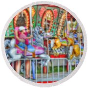 Dreaming Of Carousels Round Beach Towel
