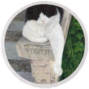 Round Beach Towel featuring the painting Dreaming Of Stone Lions by Pat Erickson