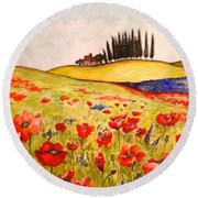 Dreaming Of Tuscany Round Beach Towel