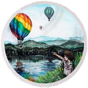 Round Beach Towel featuring the painting Dreams Do Come True by Shana Rowe Jackson