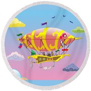 Rainbow Steampunk Dreamship Round Beach Towel