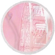 Dreamy Baby Pink Ferris Wheel Carnival Art With Hot Air Balloons Round Beach Towel