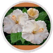 Dreamy Blooms - White Hibiscus Round Beach Towel