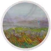 Dreamy Landscape Abstract Round Beach Towel