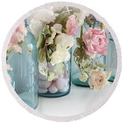 Shabby Chic Roses Blue Aqua Ball Mason Jars - Roses In Aqua Blue Mason Jars - Shabby Chic Decor Round Beach Towel
