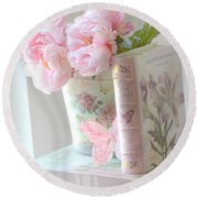 Dreamy Shabby Chic Pink Peonies And Books - Romantic Cottage Peonies Floral Art With Pink Books Round Beach Towel by Kathy Fornal