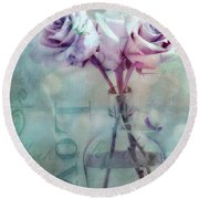 Roses Dreamy Shabby Chic Pink Roses Teal Aqua Impressionistic Cottage Pink Aqua Teal Love Roses Round Beach Towel