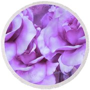 Dreamy Shabby Chic Purple Lavender Paris Roses - Dreamy Lavender Roses Cottage Floral Art Round Beach Towel