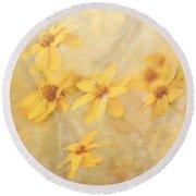 Dreamy Yellow Coreopsis Round Beach Towel
