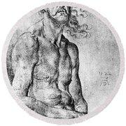 Durer Man Of Sorrows, 1522 Round Beach Towel