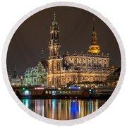 Dresden By Night Round Beach Towel