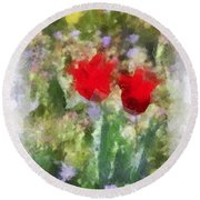 Round Beach Towel featuring the painting Dressed In Red  by Kerri Farley