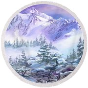 Dressed In White Mount Shuksan Round Beach Towel by Sherry Shipley