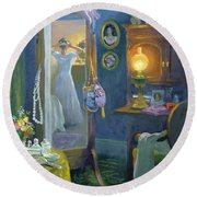 Dressing Room Victorian Style Oil On Board Round Beach Towel