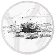 Drift Wood And Yucca Plants Round Beach Towel