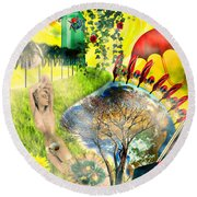 Round Beach Towel featuring the mixed media Drifting Away by Ally  White