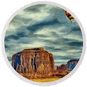 Round Beach Towel featuring the painting Drifting Over Monument Valley by Jeff Kolker