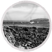 Driftwood And Harbor Round Beach Towel