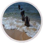 Driftwood And Sea Foam Beach Round Beach Towel