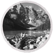 Driftwood - Black And White Round Beach Towel by Marcia Socolik