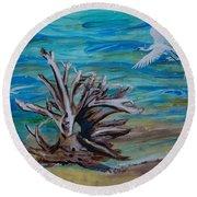 Driftwood On Lake Huron Round Beach Towel
