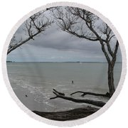 Round Beach Towel featuring the photograph Driftwood On The Beach by Christiane Schulze Art And Photography