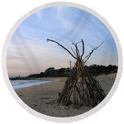 Round Beach Towel featuring the photograph Driftwood Tipi by James B Toy