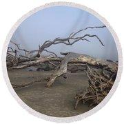 Driftwood Trees On Jekyll Island Round Beach Towel