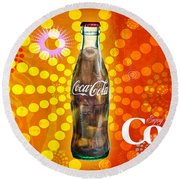 Drink Ice Cold Coke 4 Round Beach Towel