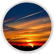 Drive By Sunset Round Beach Towel