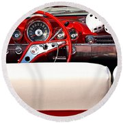 Drive-in Lounge - 1960 Chevy Round Beach Towel