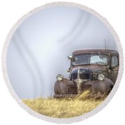 A Rusty Abandoned Truck Near Sturgis South Dakota Round Beach Towel