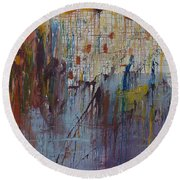 Round Beach Towel featuring the painting Drizzled by Avonelle Kelsey