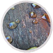 Drops On Wood Round Beach Towel