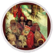 Druids Bringing In The Mistletoe Round Beach Towel by Pg Reproductions