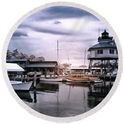 Drum Point In Infrared Watercolor Round Beach Towel