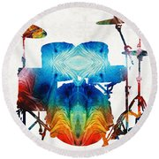 Drum Set Art - Color Fusion Drums - By Sharon Cummings Round Beach Towel by Sharon Cummings